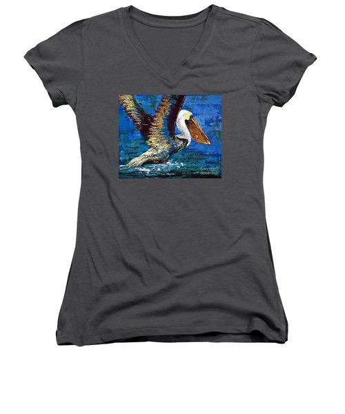 Women's V-Neck T-Shirt (Junior Cut) featuring the painting Im Outa Here by Suzanne McKee
