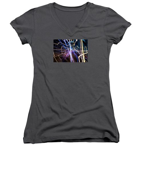 Women's V-Neck T-Shirt (Junior Cut) featuring the photograph Image Burn by Micah Goff