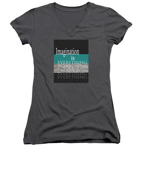 Women's V-Neck T-Shirt (Junior Cut) featuring the digital art Imagination by Ann Powell