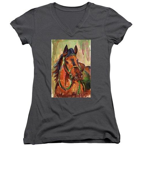 Impressionist Horse Women's V-Neck T-Shirt