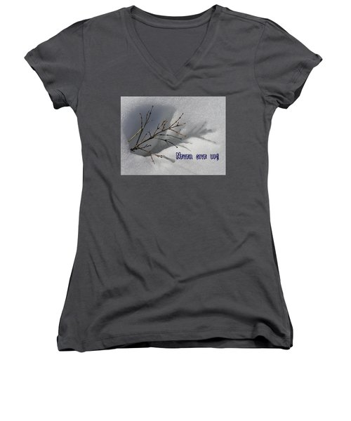 Women's V-Neck T-Shirt (Junior Cut) featuring the photograph Impressions Never Give Up by DeeLon Merritt