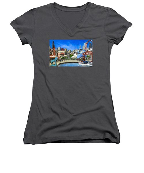 Impressions Of Chicago Women's V-Neck T-Shirt (Junior Cut) by Robert Reeves