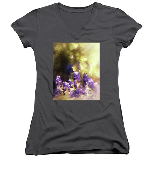 Women's V-Neck T-Shirt featuring the digital art Impressions Of Muscari by Lois Bryan