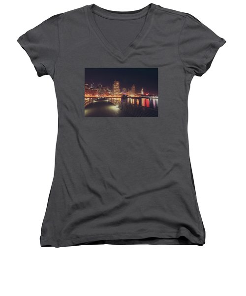 Women's V-Neck T-Shirt (Junior Cut) featuring the photograph In A Heartbeat by Laurie Search