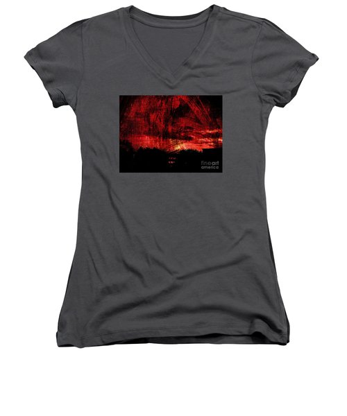 In A Red World Women's V-Neck T-Shirt