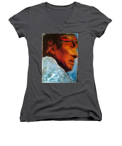 Women's V-Neck T-Shirt (Junior Cut) featuring the painting In Cool Clear Waters by FeatherStone Studio Julie A Miller