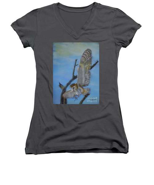 In Flight Barn Owl Women's V-Neck