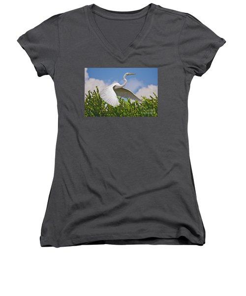 In Flight Women's V-Neck T-Shirt (Junior Cut) by Judy Kay