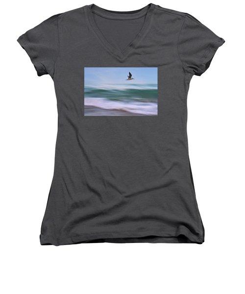 In Flight Women's V-Neck T-Shirt (Junior Cut) by Laura Fasulo