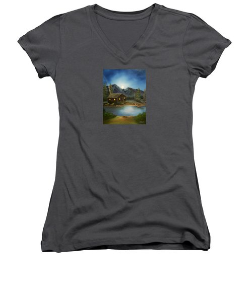 Women's V-Neck T-Shirt (Junior Cut) featuring the painting In For The Night by Sheri Keith