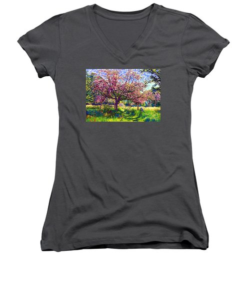 In Love With Spring, Blossom Trees Women's V-Neck T-Shirt (Junior Cut) by Jane Small