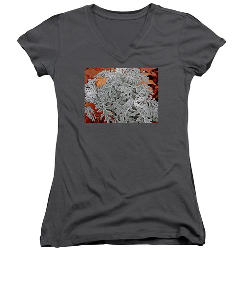 Women's V-Neck featuring the digital art In Perfect Form by Lynda Lehmann