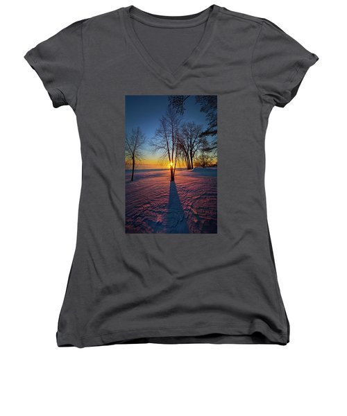 Women's V-Neck T-Shirt (Junior Cut) featuring the photograph In That Still Place by Phil Koch