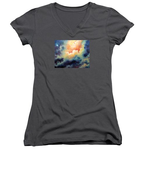 In The Beginning Women's V-Neck T-Shirt (Junior Cut) by Marina Petro