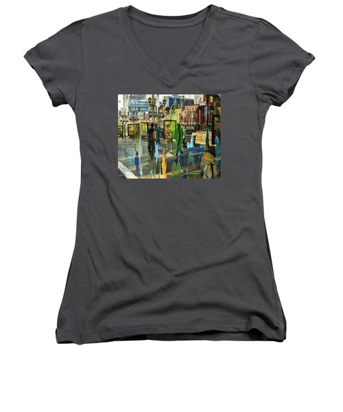 Women's V-Neck T-Shirt (Junior Cut) featuring the photograph In The City by Vladimir Kholostykh