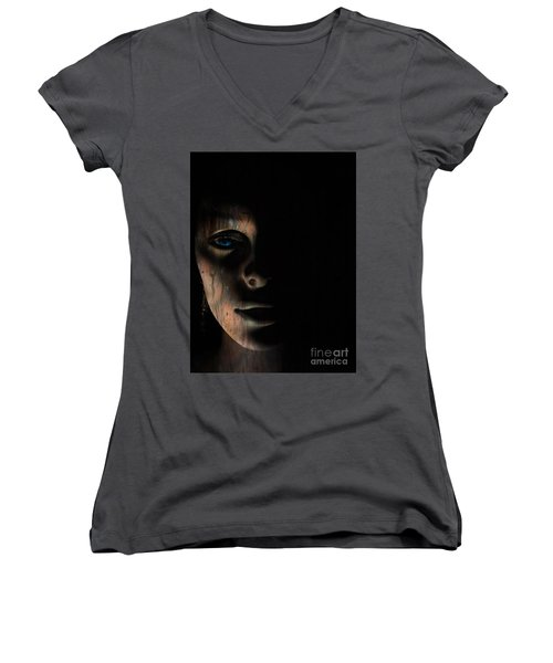 Women's V-Neck T-Shirt (Junior Cut) featuring the photograph In The Dark by Trena Mara