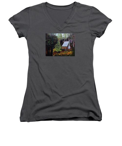 In The Deep Woods Women's V-Neck T-Shirt (Junior Cut) by Mike Caitham