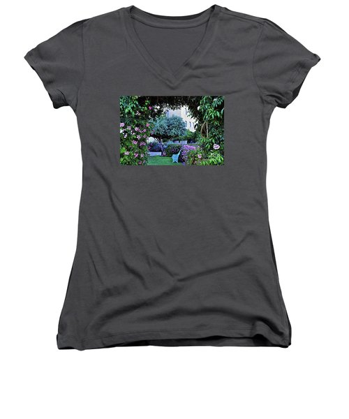 In The Garden At Mount Zion Hotel  Women's V-Neck T-Shirt (Junior Cut) by Lydia Holly