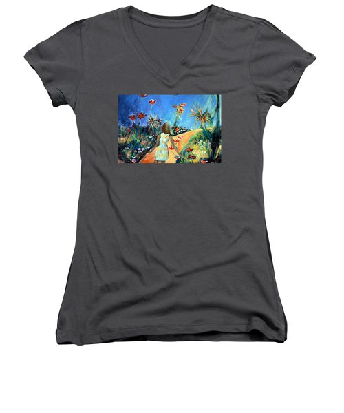 In The Garden Of Joy Women's V-Neck T-Shirt