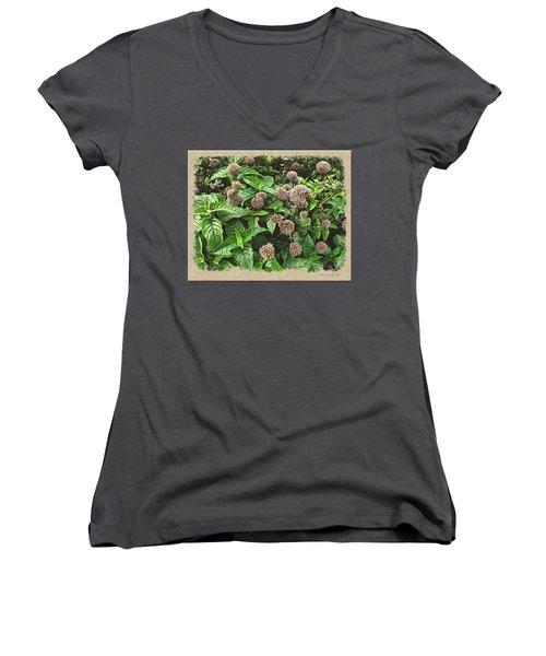 Women's V-Neck T-Shirt (Junior Cut) featuring the photograph In The Highline Garden by Joan  Minchak