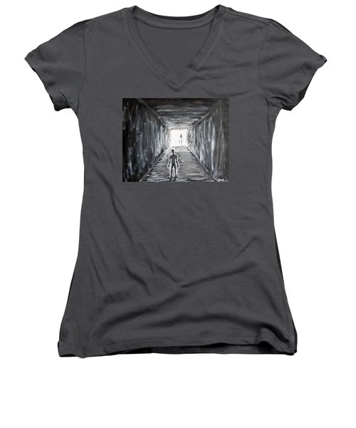 Women's V-Neck T-Shirt (Junior Cut) featuring the painting In The Light Of The Living by Antonio Romero