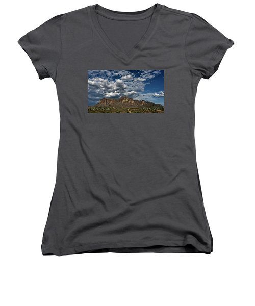 Women's V-Neck T-Shirt featuring the photograph In The Midst Of The Superstitions  by Saija Lehtonen