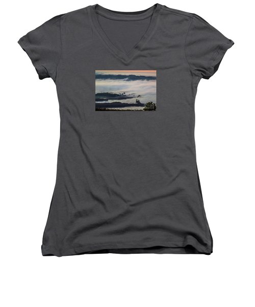 In The Mist 2 Women's V-Neck T-Shirt (Junior Cut) by Jean Bernard Roussilhe