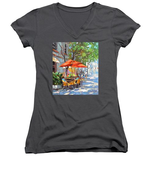 Women's V-Neck T-Shirt (Junior Cut) featuring the painting In The Shadow Of Cafe by Dmitry Spiros