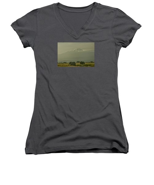 Women's V-Neck T-Shirt (Junior Cut) featuring the photograph In The Shadow Of Kilimanjero by Gary Hall