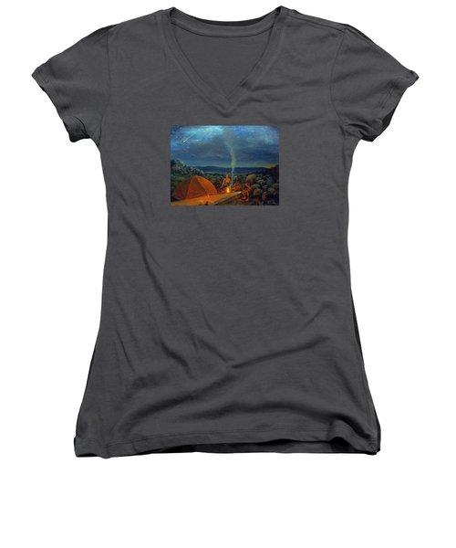 In The Spotlight Women's V-Neck T-Shirt (Junior Cut) by Donna Tucker