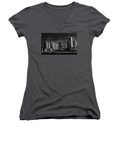 In The Still- Black And White Women's V-Neck (Athletic Fit)