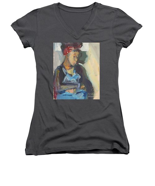 Women's V-Neck T-Shirt (Junior Cut) featuring the painting In The Still Of Quiet by Daun Soden-Greene