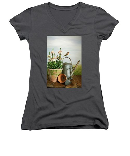 In The Vintage Garden Women's V-Neck (Athletic Fit)