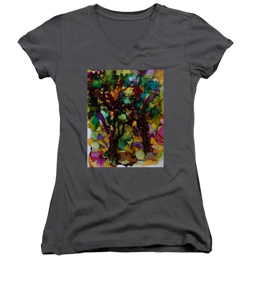 In The Woods Women's V-Neck T-Shirt (Junior Cut) by Alika Kumar