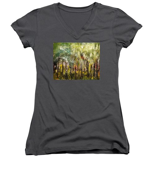 Women's V-Neck T-Shirt (Junior Cut) featuring the painting In The Woods by Evelina Popilian