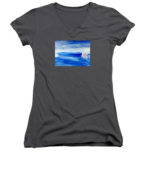 Women's V-Neck T-Shirt (Junior Cut) featuring the painting In This Sea Of Life by Trilby Cole