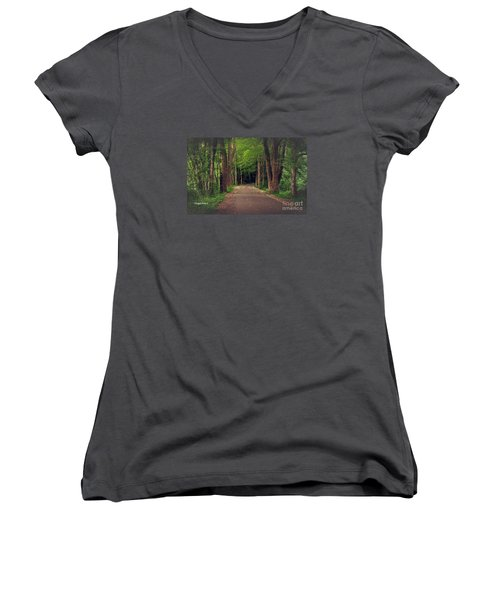 In To The   Deep Dark Woods  Women's V-Neck T-Shirt (Junior Cut) by MaryLee Parker