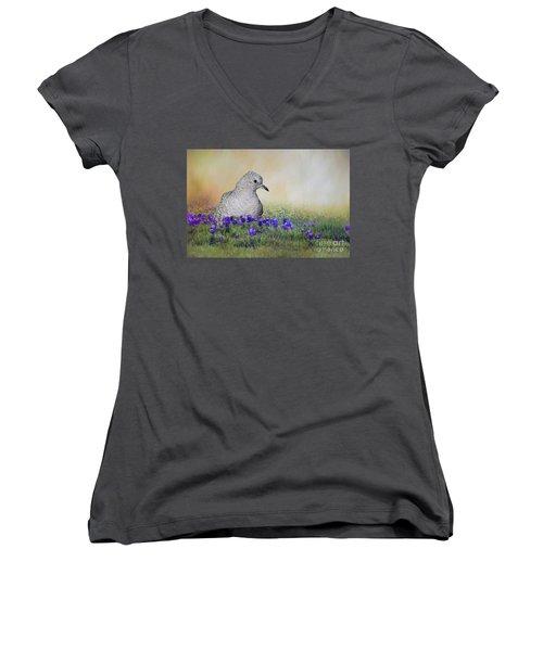 Inca Dove  Women's V-Neck T-Shirt (Junior Cut) by Bonnie Barry