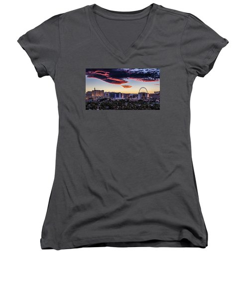 Women's V-Neck T-Shirt (Junior Cut) featuring the photograph Independence Day by Michael Rogers
