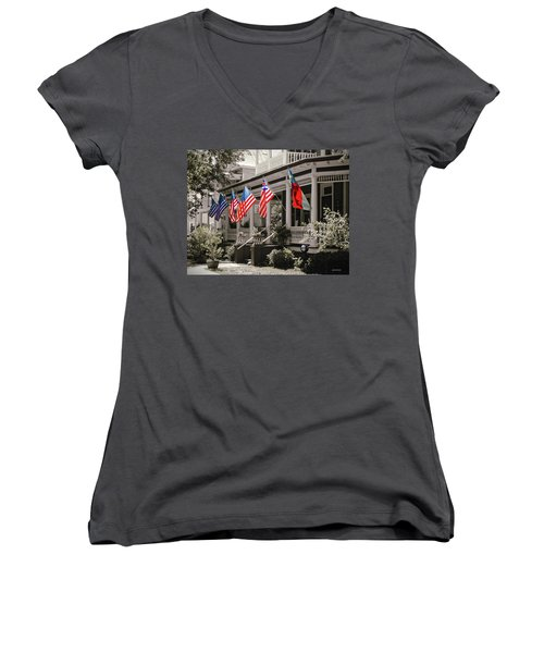Independence Day Southport Style Women's V-Neck T-Shirt (Junior Cut) by Phil Mancuso