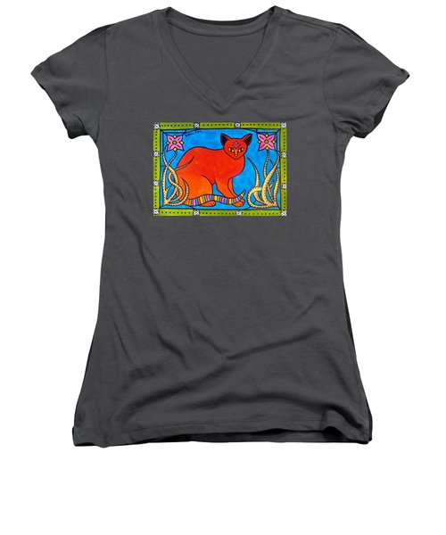 Indian Cat With Lilies Women's V-Neck T-Shirt (Junior Cut) by Dora Hathazi Mendes