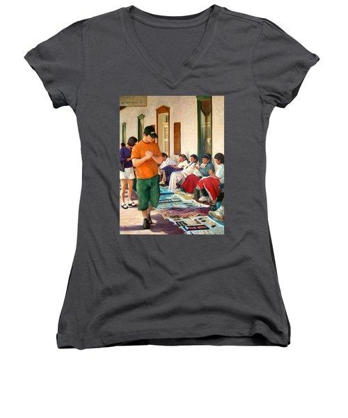 Indian Market Women's V-Neck T-Shirt (Junior Cut) by Donelli  DiMaria