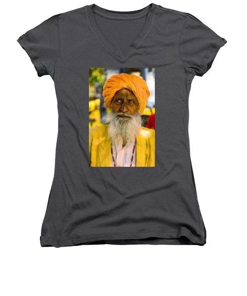 Indian Old Man Women's V-Neck