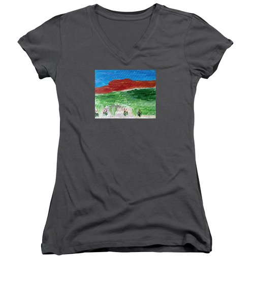 Women's V-Neck T-Shirt (Junior Cut) featuring the painting Indian Paintbrush Under A Midday Sun by Brenda Pressnall