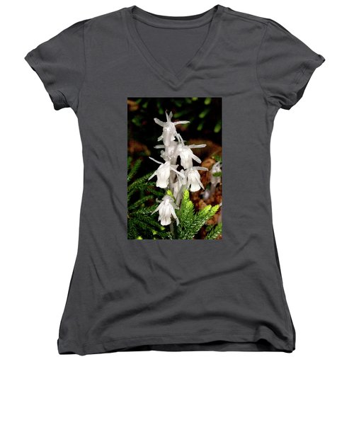Women's V-Neck T-Shirt (Junior Cut) featuring the photograph Indian Pipes On Club Moss by Meta Gatschenberger