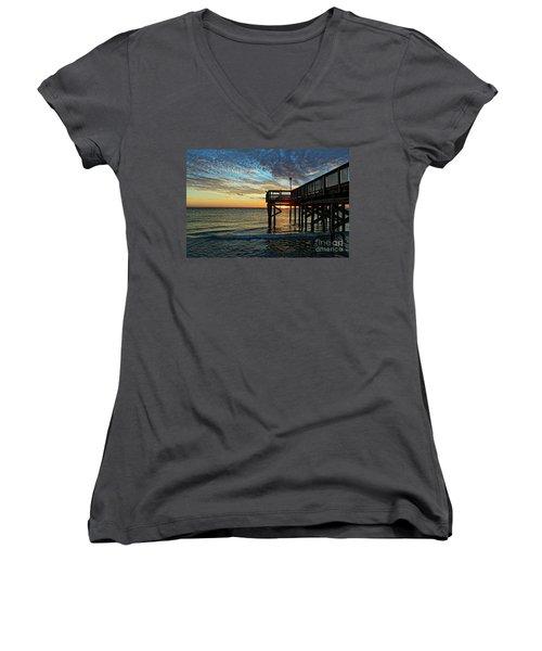Indian Rocks Sunset Women's V-Neck T-Shirt (Junior Cut) by Paul Mashburn