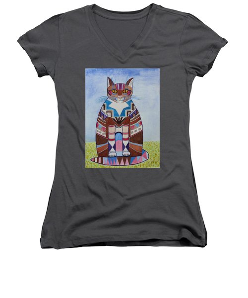 Indian Squirrel Cat Women's V-Neck (Athletic Fit)