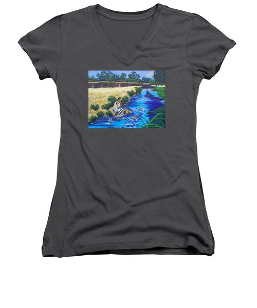 Indian Woman At The Watering Hole Women's V-Neck T-Shirt