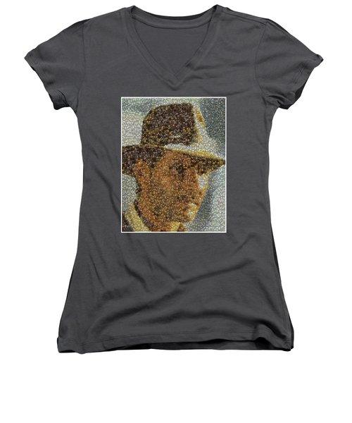 Women's V-Neck T-Shirt (Junior Cut) featuring the mixed media Indiana Jones Treasure Coins Mosaic by Paul Van Scott