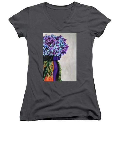 Indigo Flowers For Ma Women's V-Neck T-Shirt (Junior Cut) by Esther Newman-Cohen